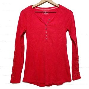 Sonoma Embellished Sleeve Thermal Henley Red XS